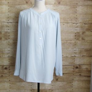 LOFT CASUAL BLOUSE LIGHT BLUE SIZE MEDIUM EUC